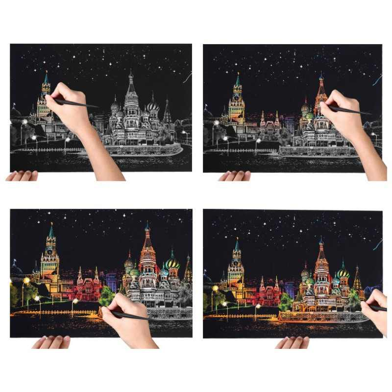 Scratch Painting Magic Scratch Art Painting Paper Sketch Pad With Wooden Drawing Stick For Adult And Kids