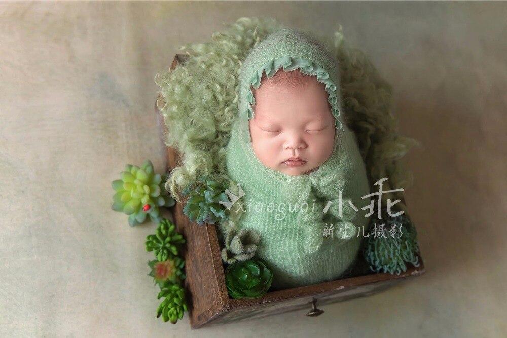 Bébé Triple Arc Noeud posant cocons sac de couchage, main mohair dentelle sac de couchage avec long noeud gland, nouveau-né des accessoires photo