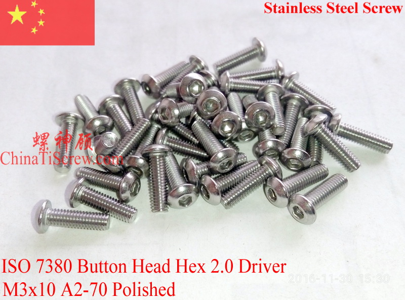 Stainless Steel screws M3x10  Button Head  ISO 7380 Hex Driver A2-70 Polished ROHS 100 pcs