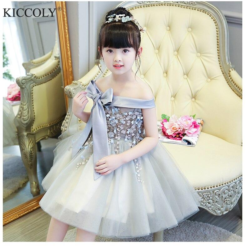 2017 Shoulderless first communion   dresses   for   girls   Vestido Daminha Casamento Luxury Ball Gown Gray Organza   Flower     Girl     Dresses