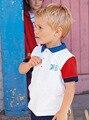 2016 Verão Nova Roupa Dos Miúdos de Algodão Curto-de mangas compridas Meninos t camisas Turn-down Collar t camisa dos miúdos meninos Roupas Shoocl