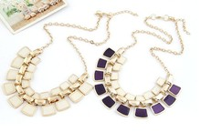 Women's Ethnic Style Statement Necklace with Colorful Insets