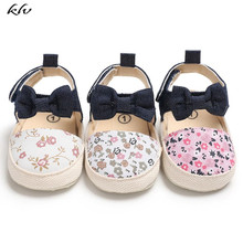 New Kids Sandals Lovely Flower Print Bow Canvas Baby Shoes Summer Soft Sole & Clogs Party Princess Girl