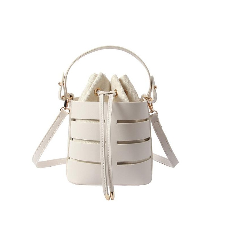 Miyahouse Solid Color Rivet Design New Fashion Small Fairy Bag Women Portable Bucket Bag Hollow PU Female Shoulder Messenger Bag