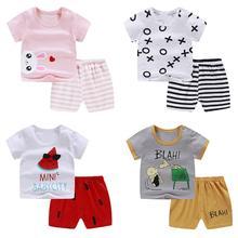 2pcs/set Children Summer Cotton Sets Unisex Clothing Cartoon Pattern Kids T-shit+Pants Boys Girls Baby Undershirt Short Sleeve