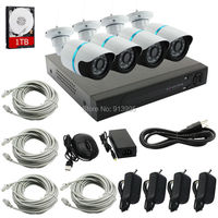 1 1TB HDD 4CH NVR 1080P 2 0MP IP Camera IR Night Vision Weatherproof Outdoor Security