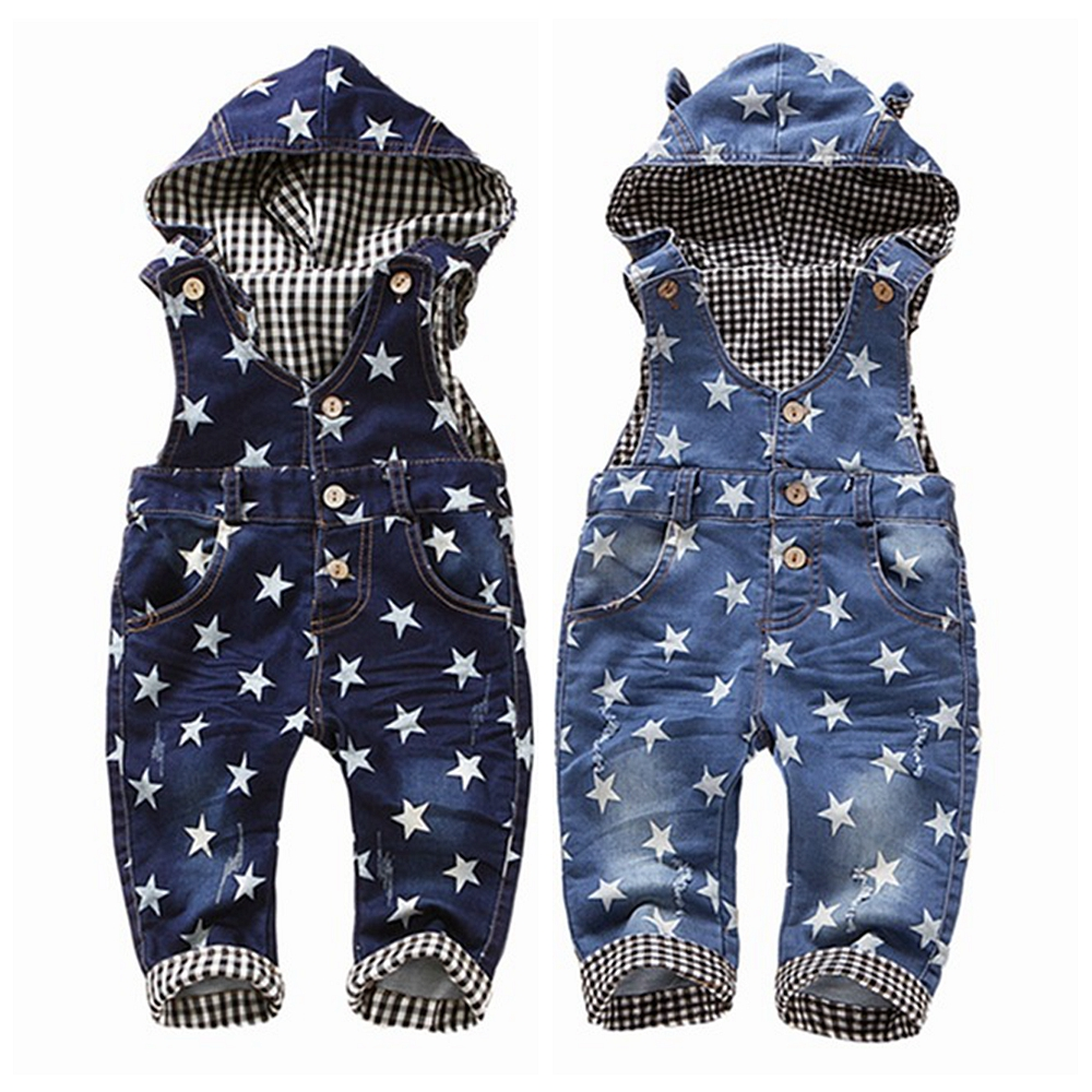 0 4T Baby Overalls Spring Girls Boys Stretchy Stars Jeans Rompers Top Quality Kids Cotton Pants Hooded Jumpsuit Babe Clothes