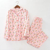 Tony&Candice Girls Pajamas Cotton Women 2 Pieces Long Sleeve Flannel Sleepwear Soft Nightgown Female For Cute Pregnant Women