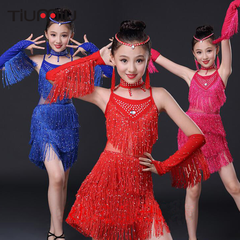 Latin Dance Dress For Girls Children Salsa For Competition Wear Red Skirts Costumes Latin Dancing Dresses Kid's Fringe Sequin