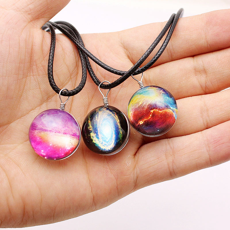 Summer Love Dreamy Starry Nebula Space Galaxy Universe Necklace Women Glass Ball Pendant Necklaces Girls Gift 2018 New 5 Color