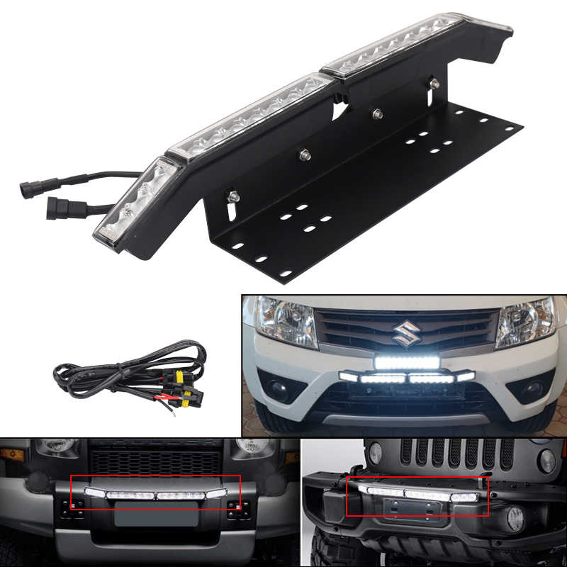 Universal Mounting Bracket with LED Work Driving Light Bar Front License Plate Holder for Car Jeep Truck SUV