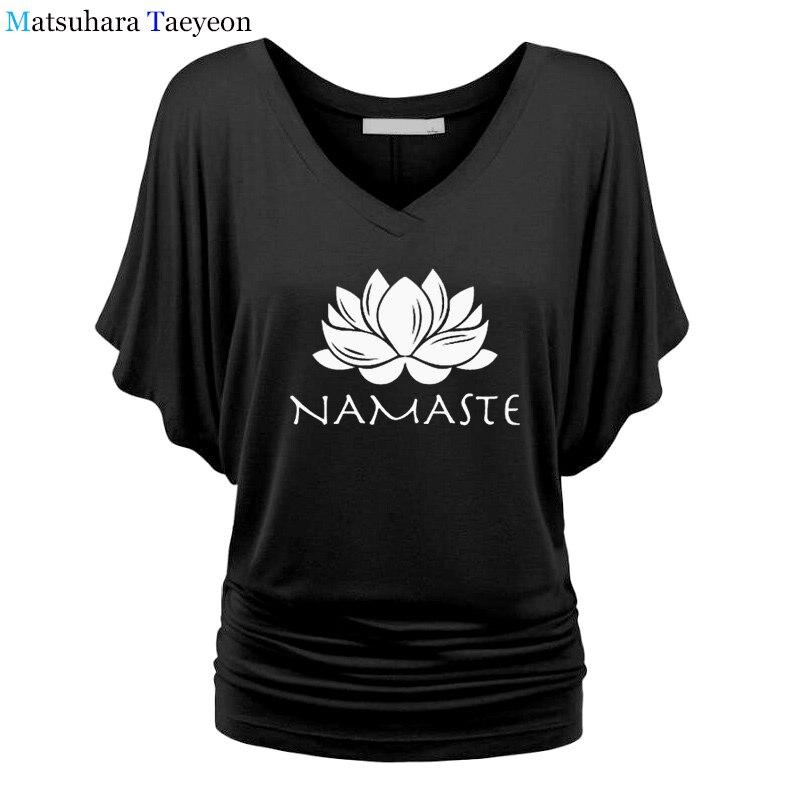 Para Manga Ropa Murciélago Niñas Tee Mujer Top Marca Moda Namaste Camiseta Tops Impresión tsdCBorhQx