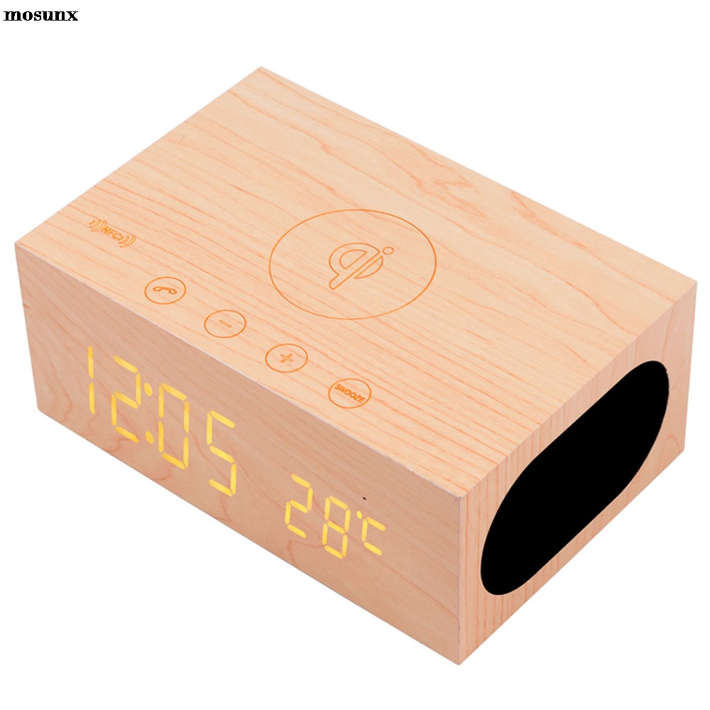 mosunx Wood Bluetooth NFC Stereo Speaker LED Snooze Alarm Clock with Wireless Charging Fashion Phone Sound Box Mini Bluetooth Sp