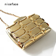 2017 new brand fashion women messenger bags Rectangular lattice gold dress acrylic hard casual evening Bag gold vintage clutch