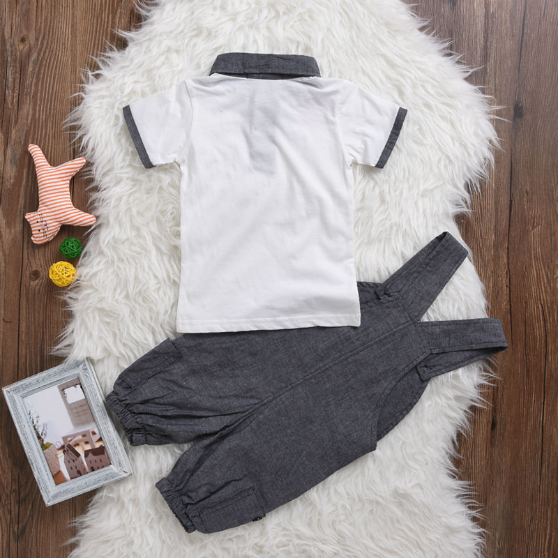 a479587afefc5 Hot Sale 2018 Summer Newborn Gentleman Sale Baby Boy Clothes Short sleeve T  shirt+Overalls 2 Pcs Suit Infant Clothing Set-in Clothing Sets from Mother  ...