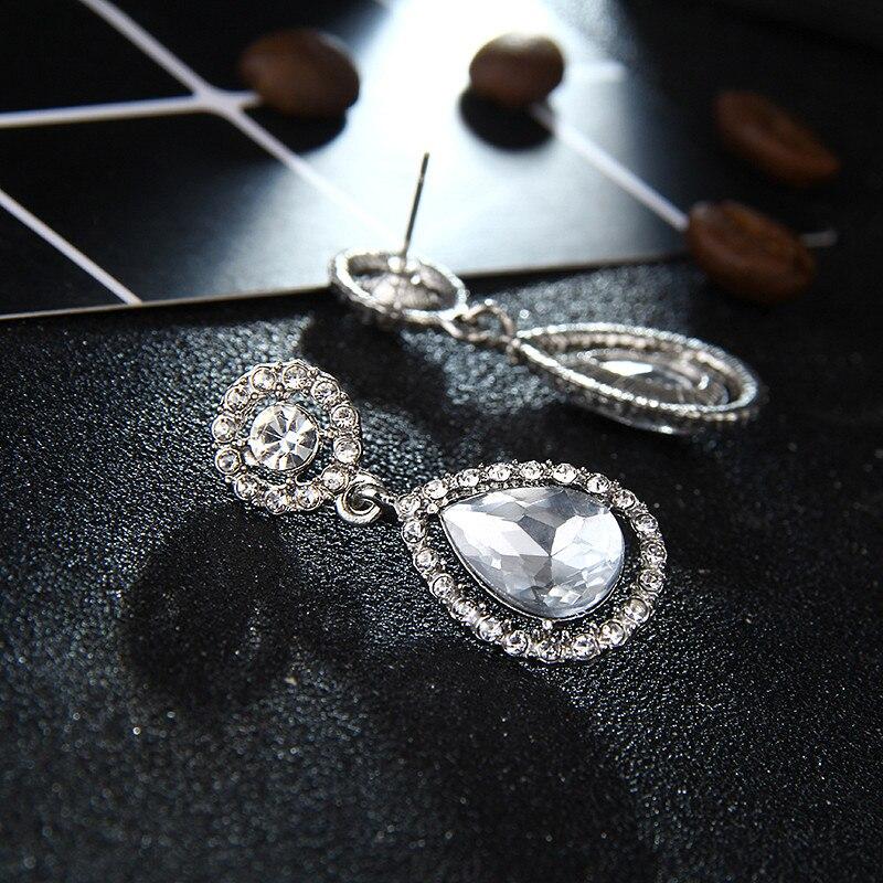 Kristall Teardrop Lange Ohrringe Braut Große Ohrringe brincos für