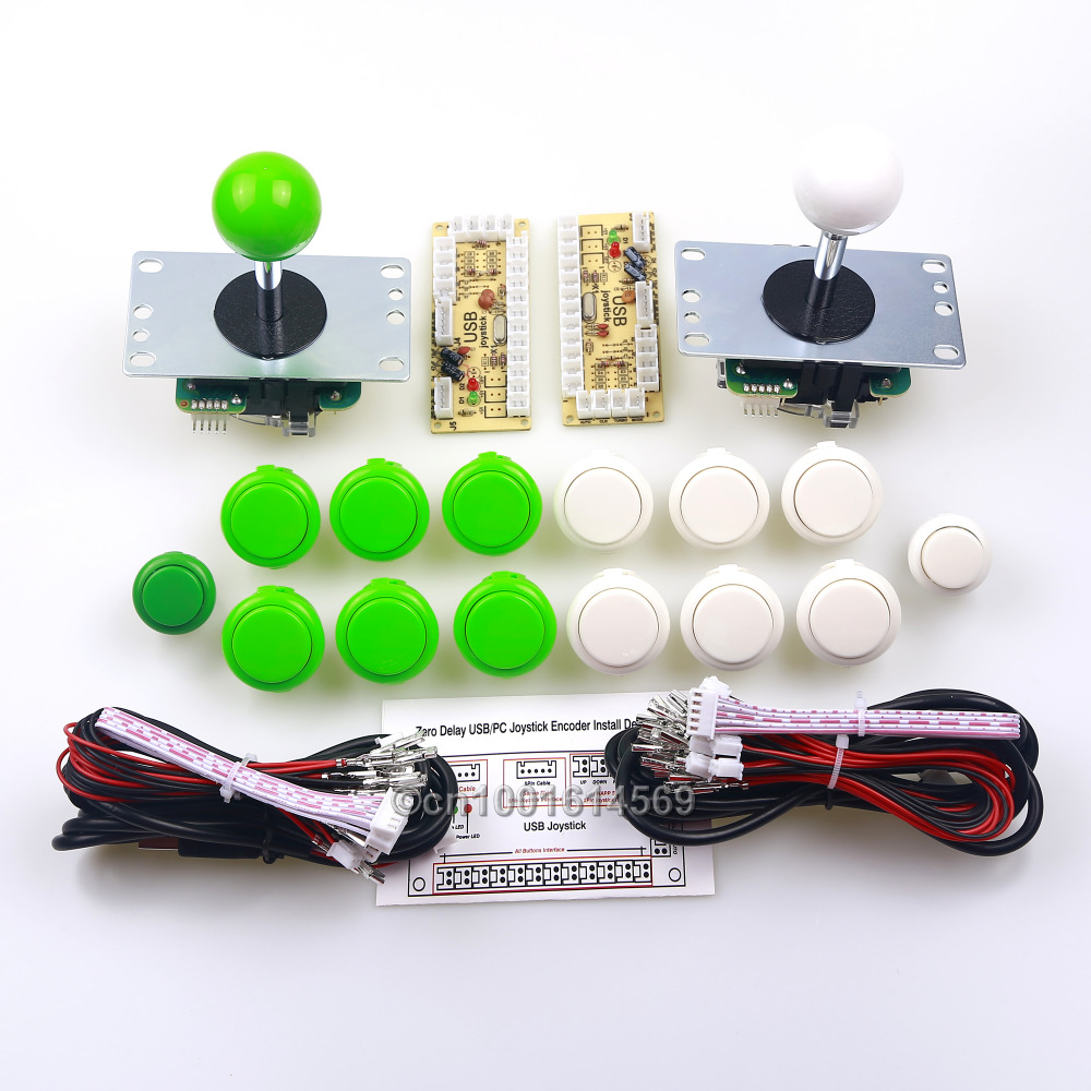 12 x Japan SANWA Buttons & 2 x 5V Arcade Buttons + 2 x Sanwa Joysticks + 2 x PC Encoders For Raspberry PI 1 2 3 3B - White+Green