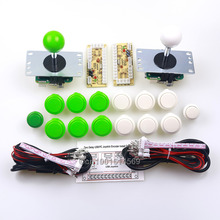 Best Buy 12 x Japan SANWA Buttons & 2 x 5V Arcade Buttons + 2 x Sanwa Joysticks + 2 x PC Encoders For Raspberry PI 1 2 3 3B – White+Green