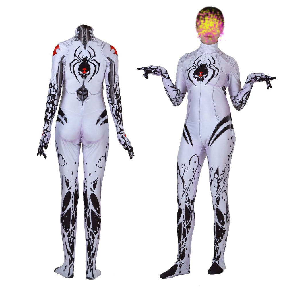 High Quality 3D Print White Jamie Tyndall Widow Cosplay Costume Lycra Zentai Halloween Custom Made Spider  Bodysuit