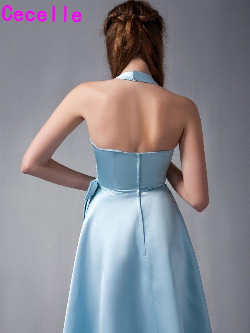Blue Satin High Low Bridesmaid Dresses Halter V Neck Informal ...