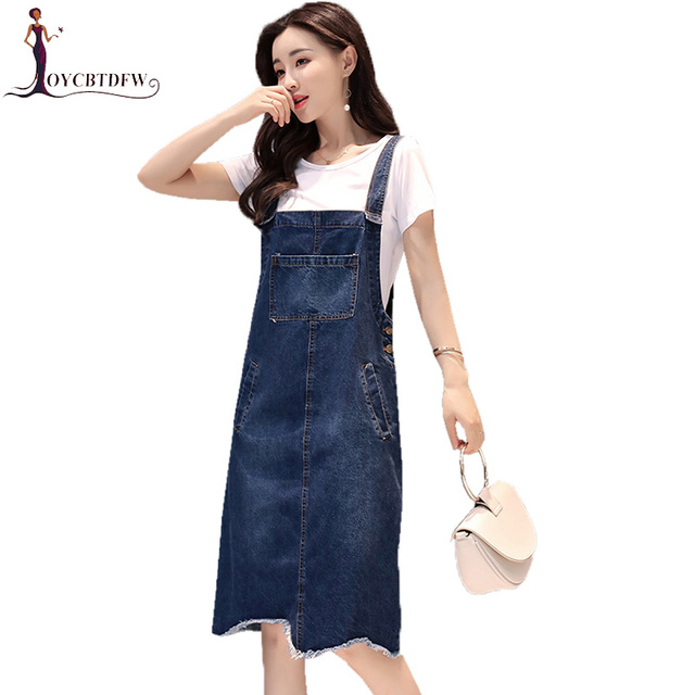 9eac925a51 Spring Women Dresses 2018 New Fashion medium Long Denim Jumper Dresses  Two-piece Round neck Short sleeve ladies Dresses NO055
