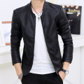 Men faux leather jacket and coats jaqueta de couro motorcycle jacket biker bomber good PU Black Slim fit M to XXL drop shipping