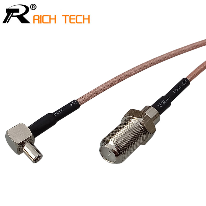 Customize Coaxial RF Cable 3G Modem Cable TS9 Right Angle Switch F Type Female Pigtail Cable RG316 15cm Wholesale Price