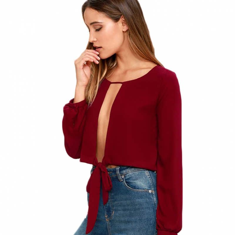 HDY Haoduoyi 2019 אופנה חולצות נשים קיץ מקרית הולו מתוך שיפון ליידי יבול חולצות מוצק שחור/אדום סקסי קשת נקבה חולצות