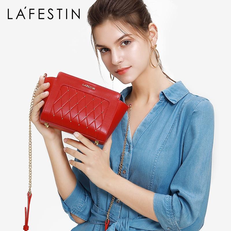 LAFESTIN 2019 Summer New Women Bags Fashion Chain Shoulder Bag Popular Rivet Design Slanting Messenger Bag
