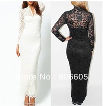 New Sexy Womens V neck Long Sleeve Floral Maxi Lace Evening Wedding Slim Dress Lace Silk USA/Euro Size S M L XL Black/White