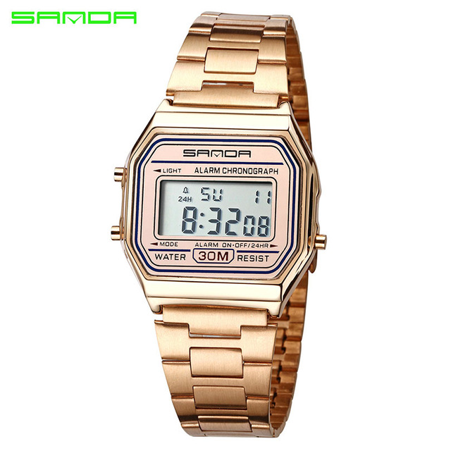 SANDA Rose Gold Sport Watch Men Watches Top Brand Luxury Golden Electronic LED Digital Wristwatch Male Clock Relogio Masculino sport student children watch kids watches boys girls clock child led digital wristwatch electronic wrist watch for boy girl gift