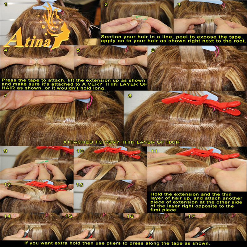 7a Blonde Hand Tied Invisible Tape In Human Hair Extensions Double