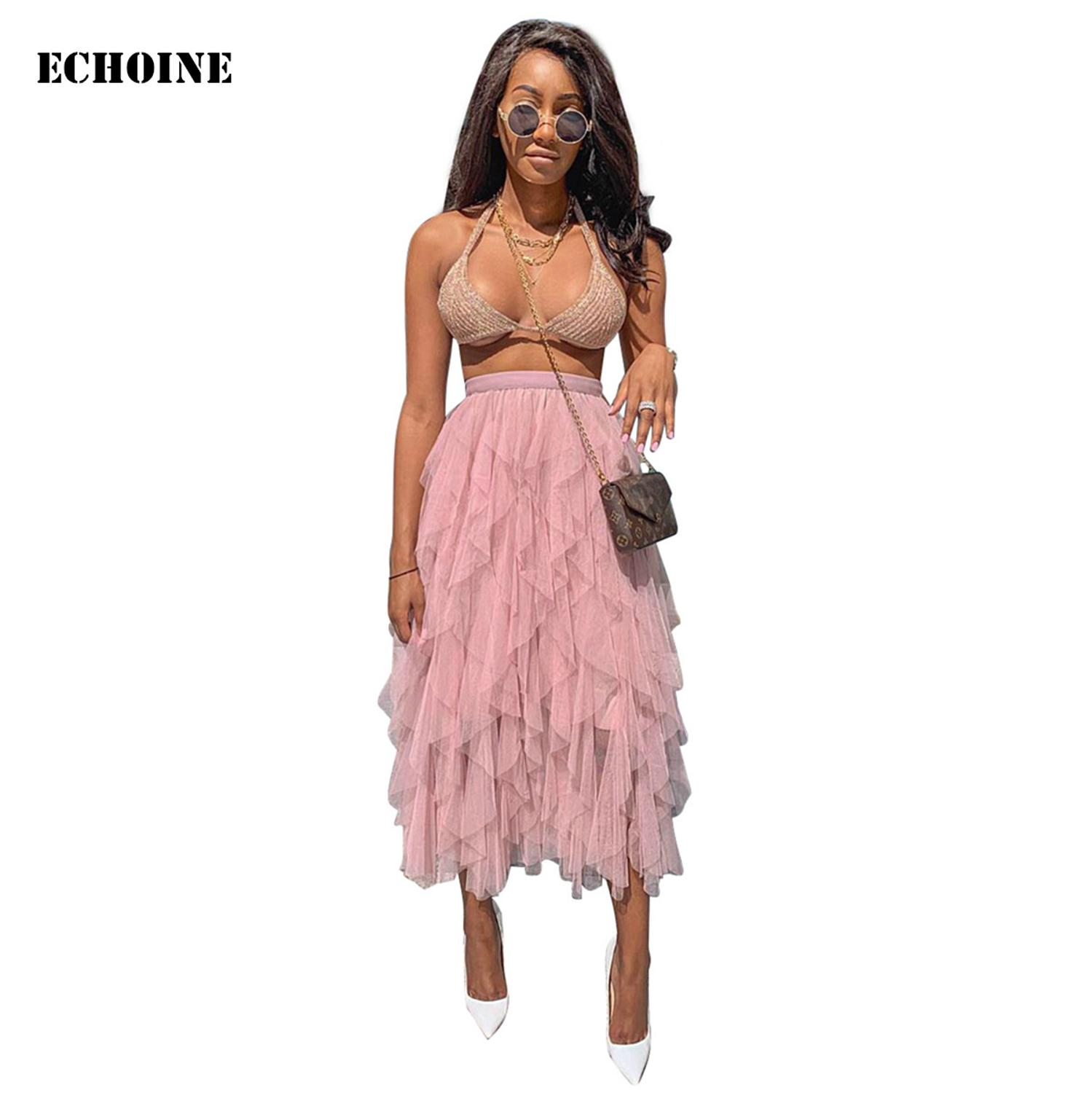 Echoine Tutu Tulle Skirt Women Long Maxi Pleated Ruffle Lace Sheer Mesh Elastic High Waist