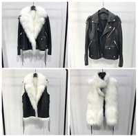 Black real leather jacket for women natural fox fur liner detachable sheepleather jackets ladies outfit