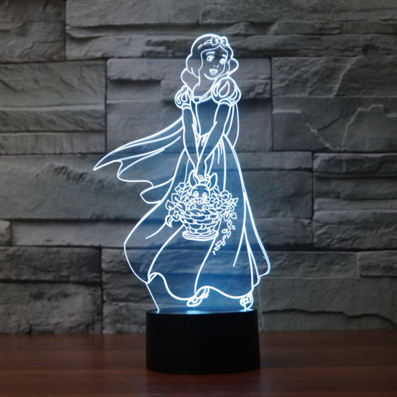 HoneyFly Snow White 3D LED Night Lamp 7Color Changing 0 5W 5V Best Gift Night Light