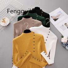 Лучший!  Новая Мода Кнопка Водолазка Свитер Женщины Весна Осень Твердые Трикотажные Пуловеры Женщины Тонкий