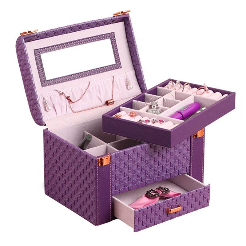 Woven Leather Jewel PU Box Organizer Three Layers Jewelry Case Storage Container European Elegant Ladies Make Up Jewel Case 2018 jewel box