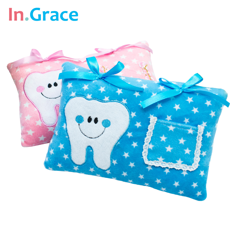InGrace Cute Soft Tooth Fairy Bantal untuk Boys and Girls Bintang Bercetak bantal bayi Penarafan PP kapas di dalam 21CM * 15CM kapal percuma