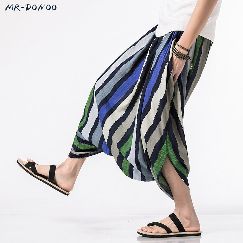 MRDONOO 2018 Summer Bohemia Men Loose Linen Shorts Knee Length Harem Pants Male Bermuda Casual Board Short Pants M-5XL