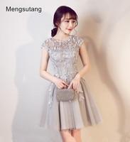 2015 New Hot Sale Elegance U Collar Silver Grey Party Dresses Bridal Short Lace Bandage Evening