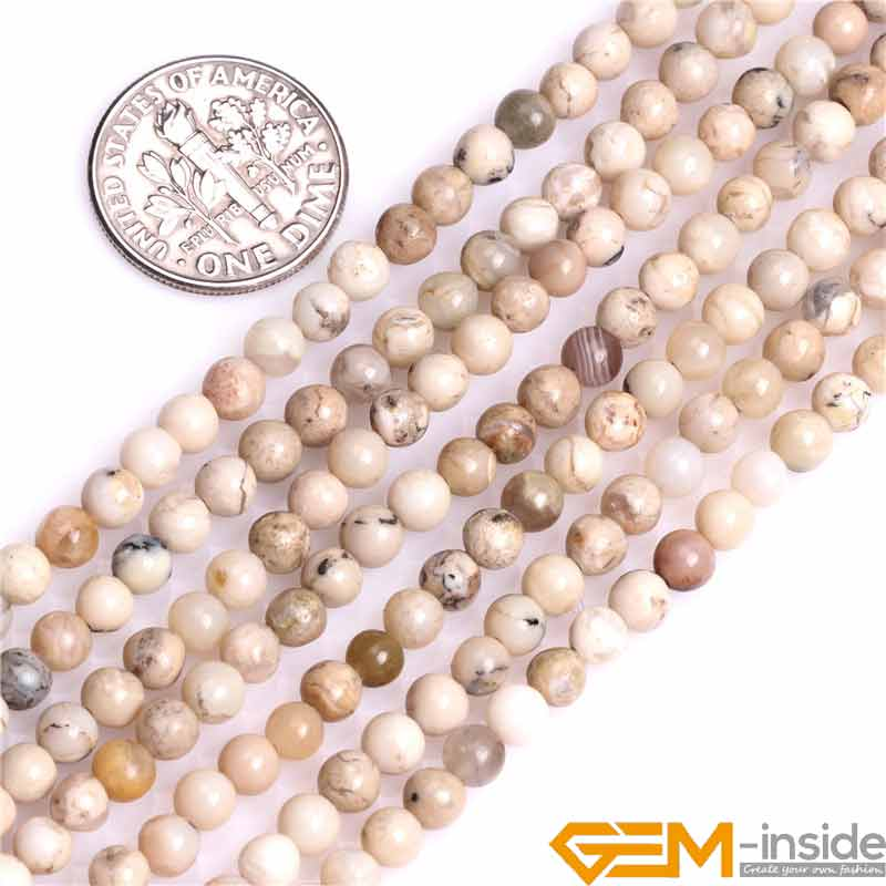 4mm 6mm 8mm Round Natural Cream White African Opal Stone Gem Stone Semi Precious Beads DIY Bead For Jewelry Making 15Wholesale