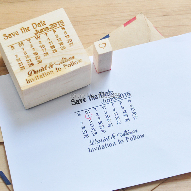 Wedding Wood Stamp Personalized Save The Date Calendar With Heart Over