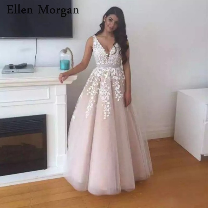 Puffy Lace   Prom     Dresses   for Women V neck Floor Length Lebanon Long Elegant Gala Jurken Custom Made Real Photos Sexy Party Gowns