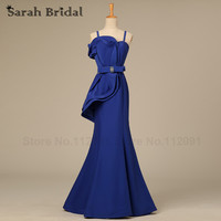 Royal Blue Satin Ruffles Prom Dresses Mermaid Long 2015 Hot Sale Women Evening Dresses Beading Waist