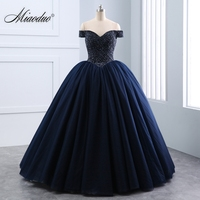 Miaoduo 2018 New Sweetheart Ball Gown Lace Pearls Crystal Black Wedding Dresses Lace Up Princess Elegant