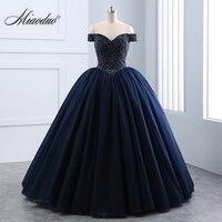 Miaoduo 2018 New vestido de Baile Querida Laço das Pérolas De Cristal Preto Vestidos de Casamento Lace up Princesa Elegante Vestido De Novias