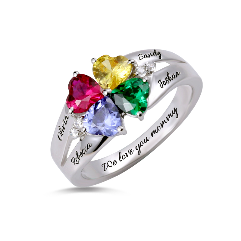 AILIN Custom Four Heart Birthstone Ring Engraved Name Sterling Silver Ring For Mother tree of life ring rose gold color birthstone ring sterling silver family tree ring custom mother s ring