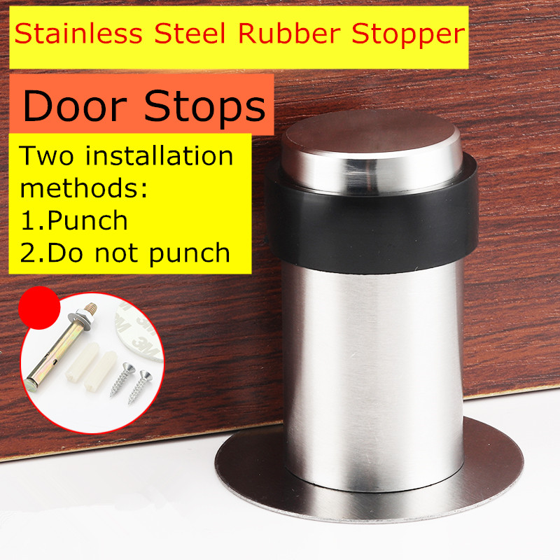 Double Use Door Stops with 3M Glue or Screws Suction Anti-Collision Stainless Steel Rubber Stopper Turtle Has Binding Resistance 50 percent off stainless steel gate door wall suction magnetic p41 strong resistance