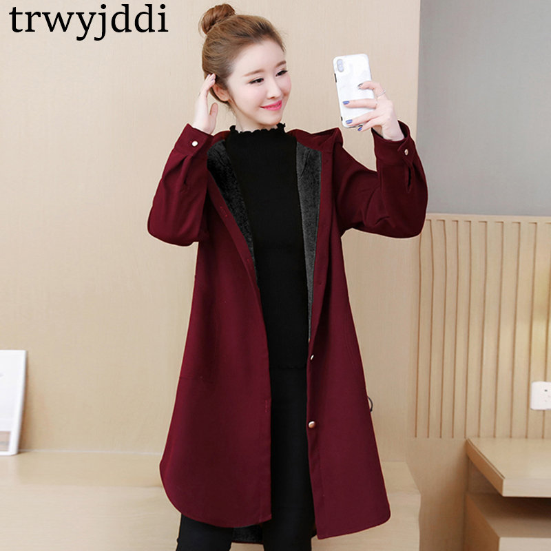 2019 New Fashion Autumn Winter Long   Trench   Coat Large Size Women's Plus Velvet Thick Warm Long Windbreaker Outerwear N377