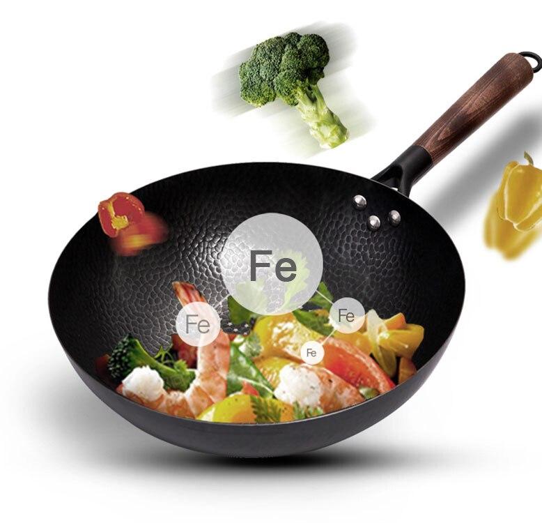 Casserole en fonte de wok en fer pur Konco marmite Non revêtue utilisation générale pour cuisinière à gaz et à Induction 32cm marmite de Wok chinois